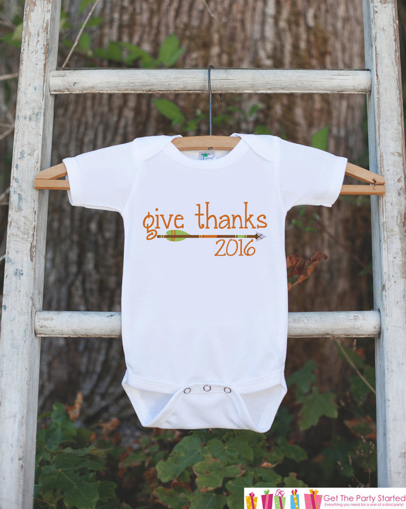 Kids Give Thanks Outfit - 2016 Thanksgiving Shirt - Kids Thanksgiving Tshirt or Onepiece - Boy or Girl Orange Arrow Thanksgiving Outfit - 7 ate 9 Apparel