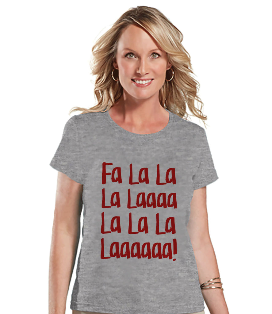 Fa La La Music - Women's Christmas Shirt - Ladies Holiday Top - Grey Tee - Winter T Shirt - Fun Holiday T-Shirt - Holiday Gift For Her