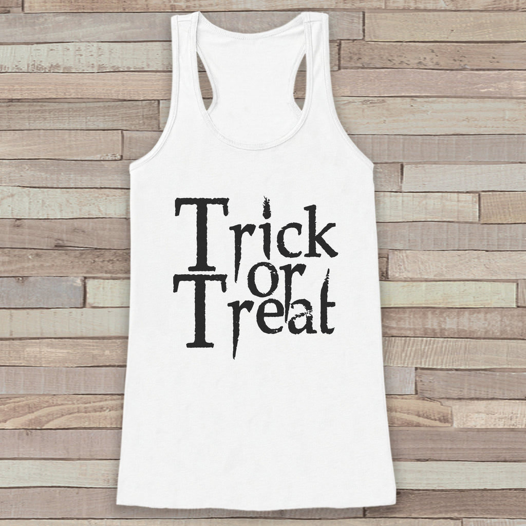 Trick or Treat Halloween Costumes - Adult Halloween Costume - Womens Tanks - Women's Costume Shirt - White Tank Top - Spooky Happy Halloween