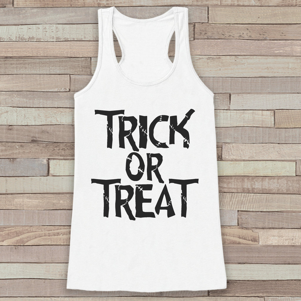 Trick or Treat Halloween Costumes - Adult Halloween Costume - Womens Tank Top - Women's Costume Shirt - White Tank Top - Happy Halloween