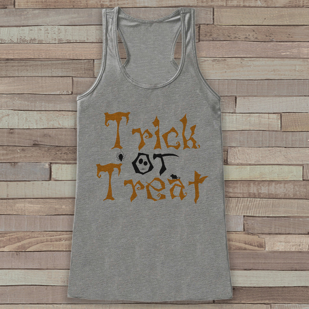 Trick or Treat Halloween Costumes - Adult Halloween Costume - Womens Tanks - Women's Costume Tshirt - Grey Tank Top - Happy Halloween Shirt