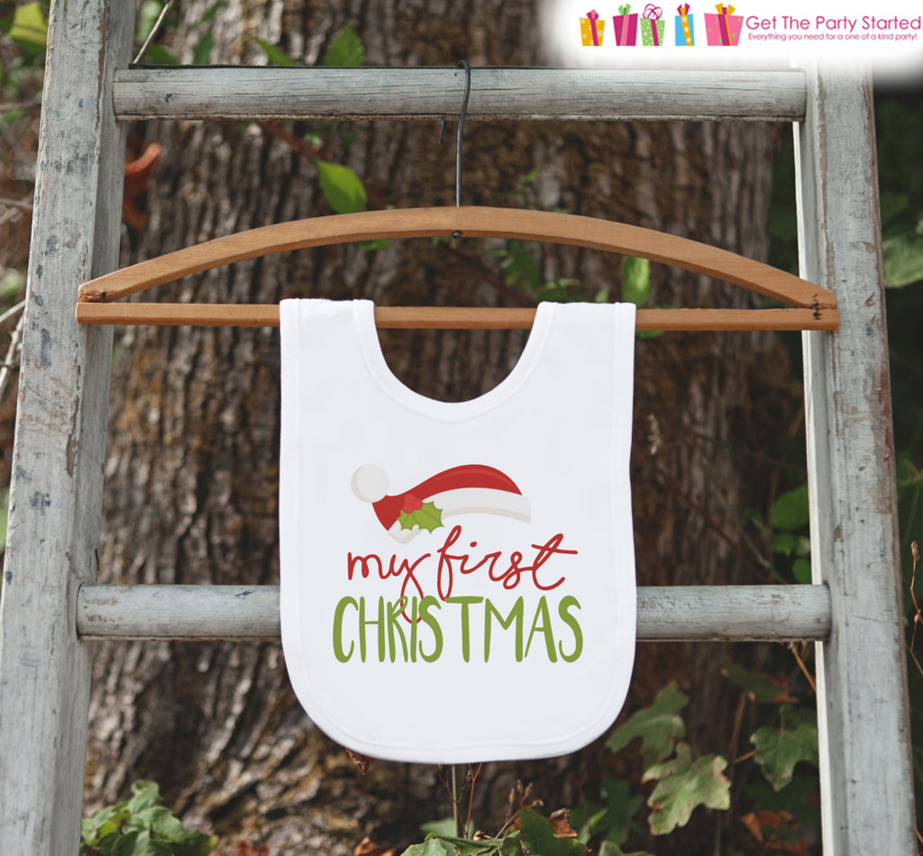 Santa Hat Christmas Bib - My First Christmas Dinner Bib - Winter ...