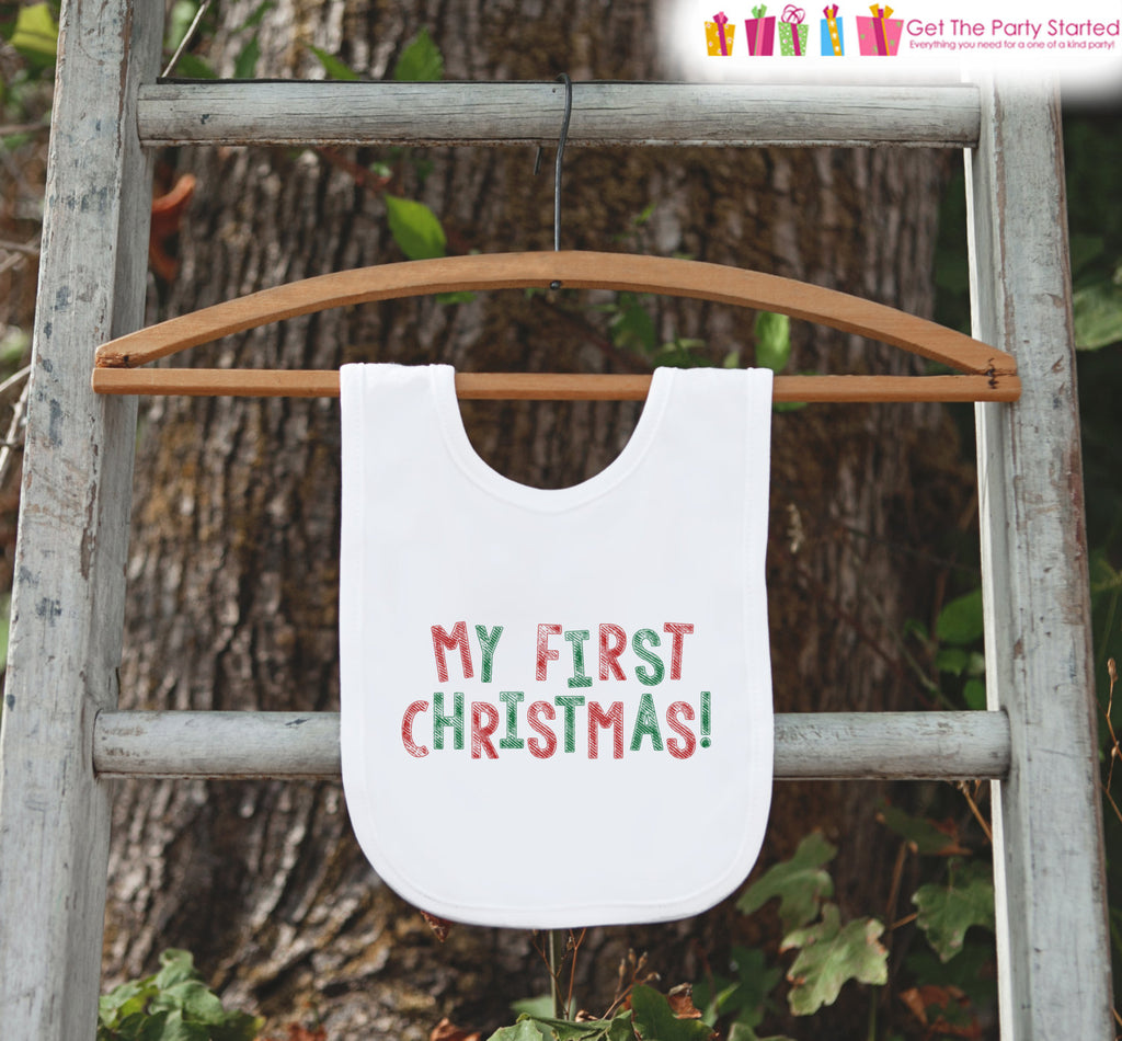 0bacb148d My First Christmas Bib for Baby - 1st Christmas Dinner Bib - Winter Ho – 7  ate 9 Apparel