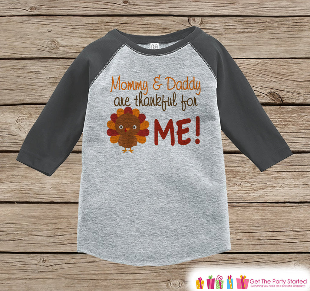 Thankful Shirt - Kids Thanksgiving Outfit - Thankful for Me - Boy or Girl Happy Thanksgiving Shirt - Grey Raglan Tshirt or Onepiece