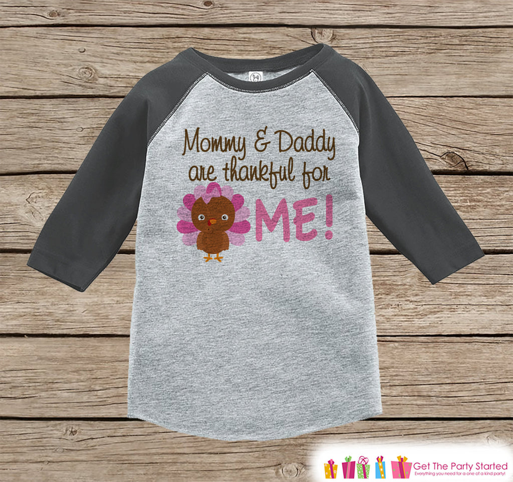 Thankful Shirt - Girls Thanksgiving Outfit - Thankful for Me - Baby Girl Turkey Happy Thanksgiving Shirt - Grey Raglan Tshirt or Onepiece