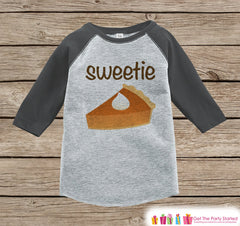 Sweetie Pie Shirt - Kids Thanksgiving Outfit - Boy or Girl Happy Thanksgiving Shirt - Grey Raglan Tshirt or Onepiece - Sweetie Pie Outfit