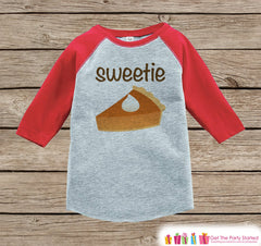 Sweetie Pie Shirt - Kids Thanksgiving Outfit - Boy or Girl Happy Thanksgiving Shirt - Red Raglan Tshirt or Onepiece - Sweetie Pie Outfit