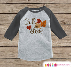 Fall in Love Outfit - Baby Fall Shirt - Boy or Girl First Fall Shirt - Grey Raglan Tshirt or Onepiece - Kids Fall Autumn - Pregnancy Reveal