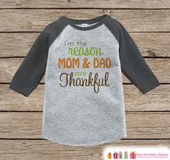 Thanksgiving Pregnancy Announcement - I'm The Reason Mom and Dad Are Thankful - Pregnancy Reveal Shirt - Grey Raglan - Kids Thanksgiving