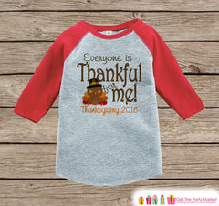 Thanksgiving Pregnancy Announcement - Everyone Is Thankful For Me - Lil Turkey Pregnancy Reveal - Red Raglan - Kids Fall Shirt or Onepiece