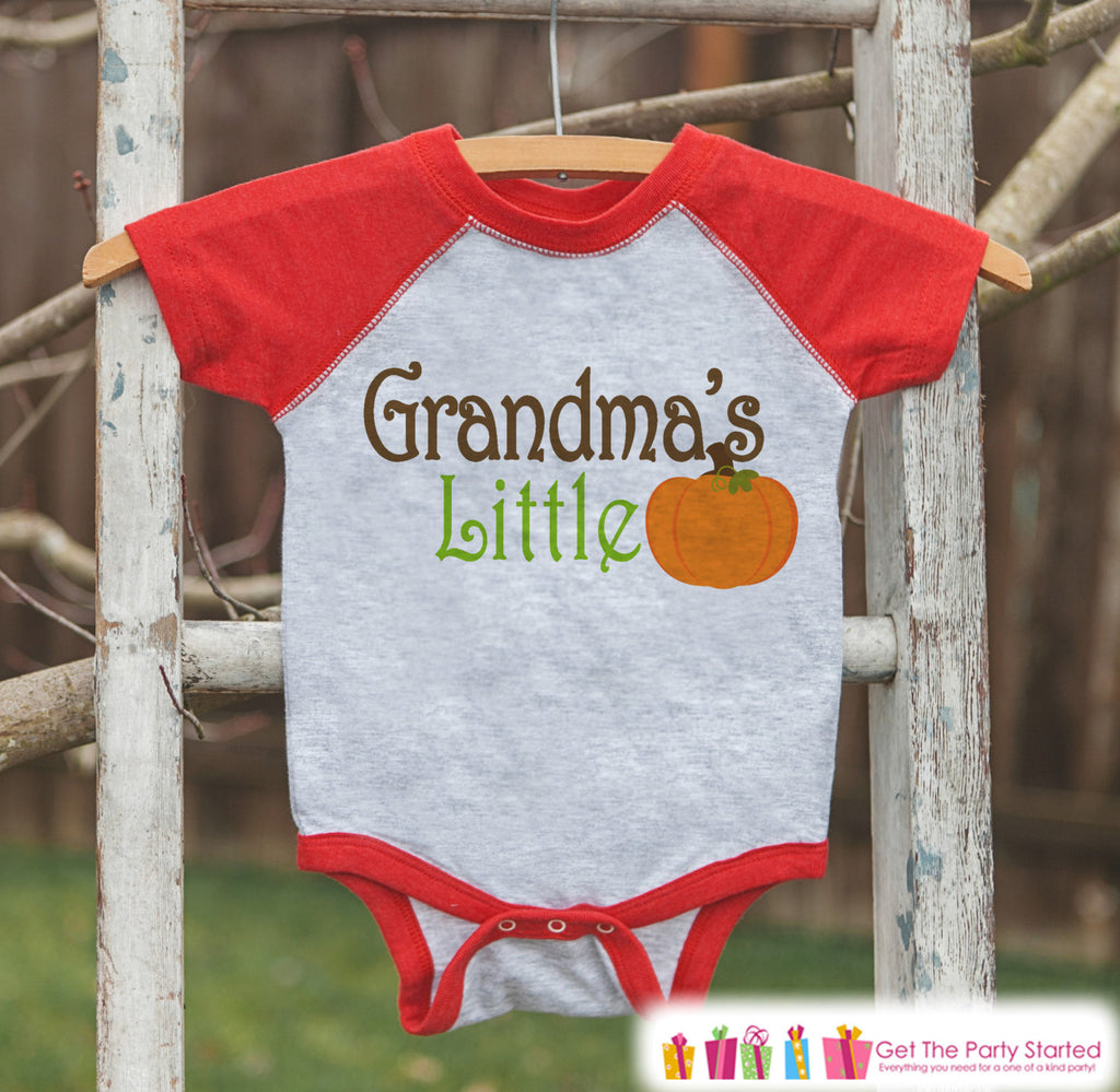 Grandma's Little Pumpkin - Kids Pumpkin Outfit - Girls or Boys Pumpkin Shirt - Red Raglan Tshirt or Onepiece - Baby or Toddler Halloween
