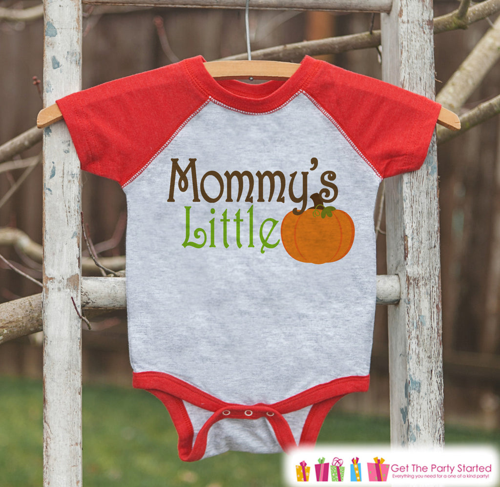 Mommy's Little Pumpkin - Kids Pumpkin Outfit - Girls or Boys Pumpkin Shirt - Red Raglan Tshirt or Onepiece - Baby or Toddler Halloween