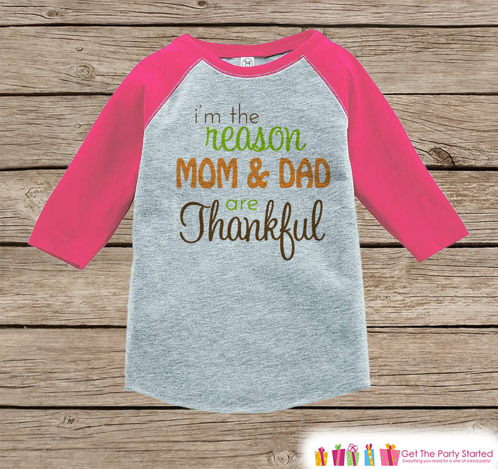 Thanksgiving Pregnancy Announcement - I'm The Reason Mom and Dad Are Thankful - Pregnancy Reveal Shirt - Pink Raglan - Gender Reveal Idea