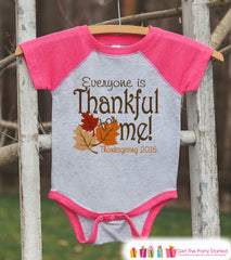 Everyone Is Thankful For Me - Girls Thanksgiving Outfit - Baby, Toddler, Kids Youth - Pink Raglan - Kids Thanksgiving Shirt or Onepiece