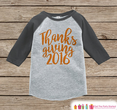 Thanksgiving 2016 Shirt - Kids Thanksgiving Outfit - Boy or Girl Happy Thanksgiving Shirt - Grey Raglan Tshirt or Onepiece - Holiday Outfit - 7 ate 9 Apparel