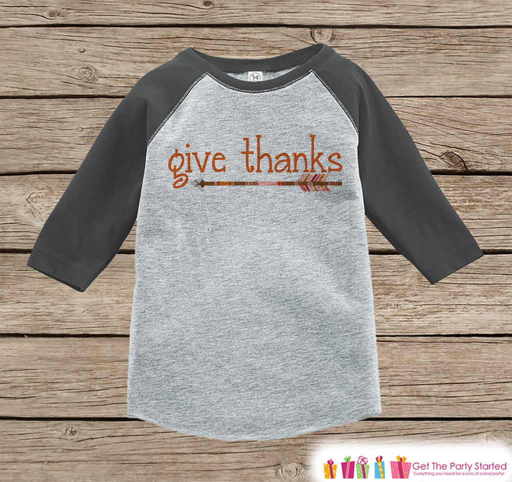 Kids Give Thanks Shirt - Orange Arrow Thanksgiving Outfit - Boy or Girl Thanksgiving Shirt - Grey Raglan Tshirt or Onepiece - Boho, Indian - 7 ate 9 Apparel