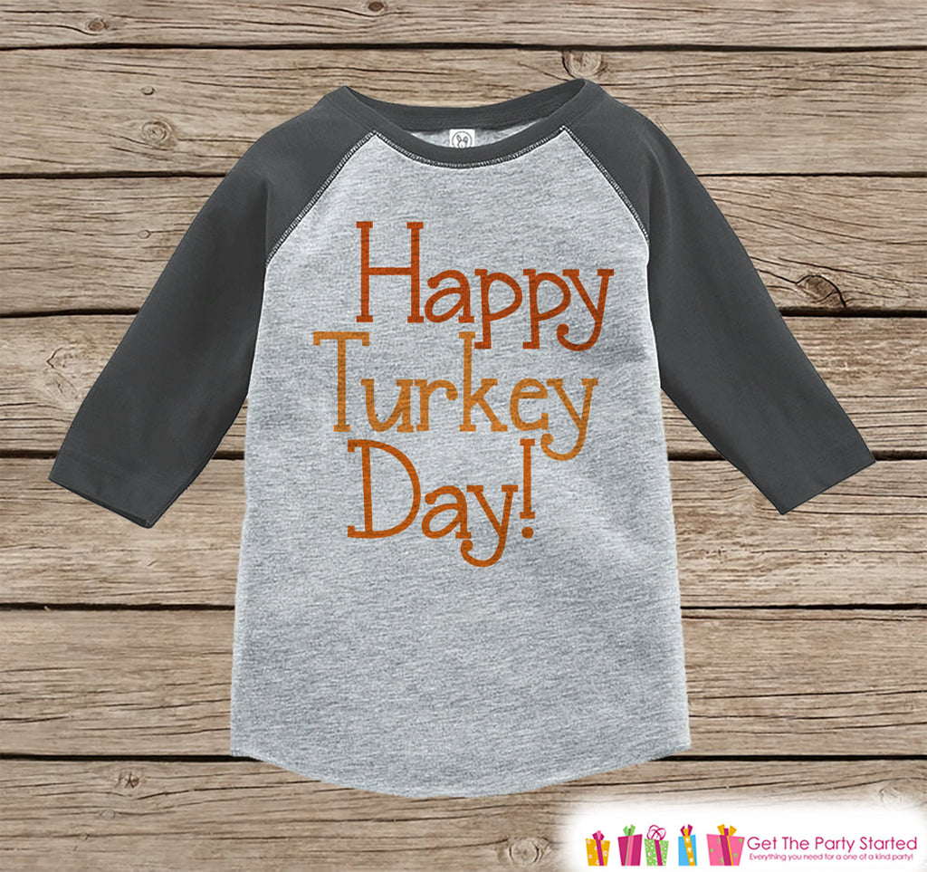 Happy Turkey Day Shirt - Thanksgiving Outfit - Boy or Girl Happy Thanksgiving Top - Grey Raglan Tshirt or Onepiece - Happy Turkey Day Shirt
