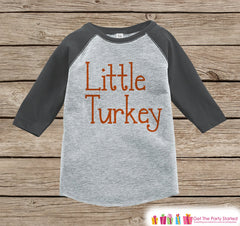 Little Turkey Outfit - Kids Thanksgiving Shirt - Boy or Girl Happy Thanksgiving - Grey Raglan Tshirt or Onepiece - Happy Turkey Day Shirt