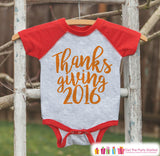 Thanksgiving 2016 Shirt - Kids Thanksgiving Outfit - Boy or Girl Happy Thanksgiving Shirt - Red Raglan Tshirt or Onepiece - Holiday Outfit - 7 ate 9 Apparel