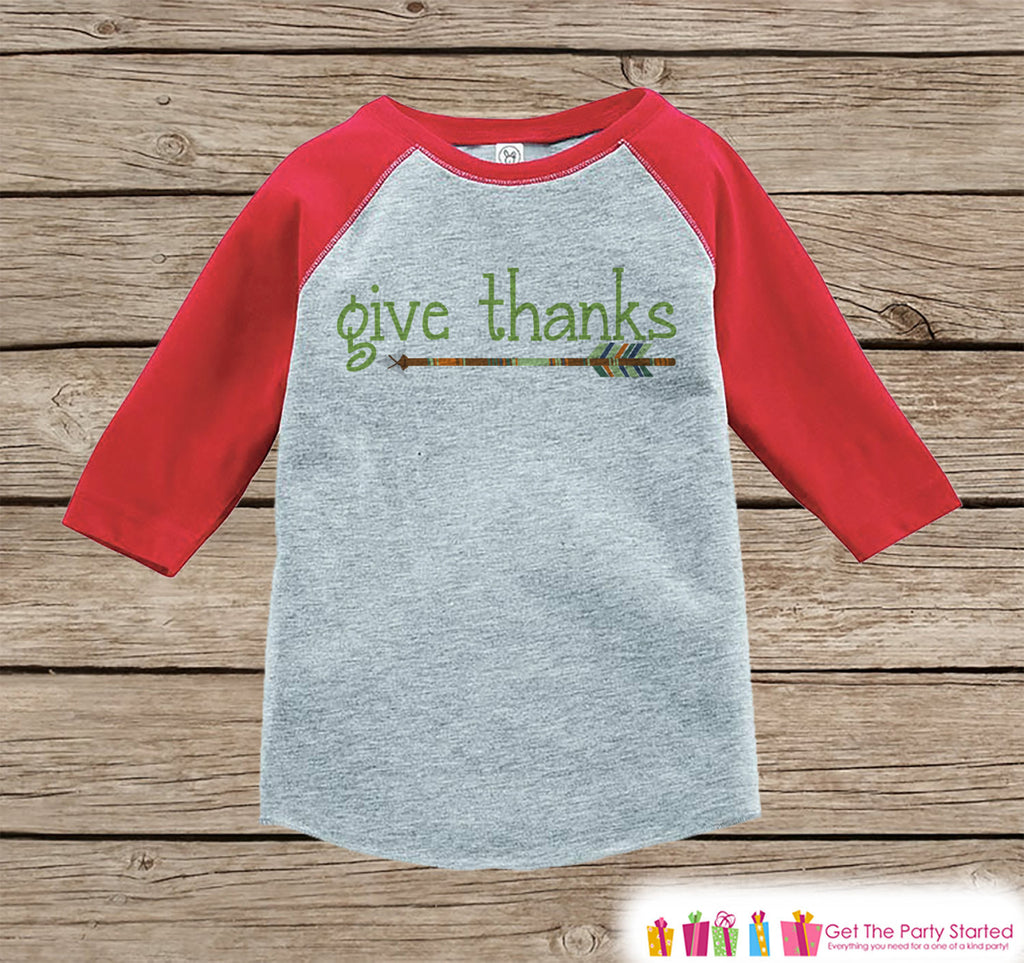 Kids Give Thanks Shirt - Green Arrow Thanksgiving Outfit - Boy or Girl Thanksgiving Shirt - Red Raglan Tshirt or Onepiece - Boho, Indian - 7 ate 9 Apparel
