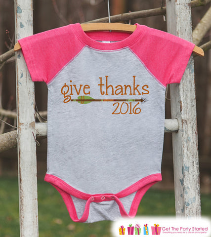 Give Thanks 2016 Shirt - Kids Arrow Thanksgiving Outfit - Girl Thanksgiving Shirt - Grey Raglan Tshirt or Onepiece - Boho, Indian, Tribal - 7 ate 9 Apparel