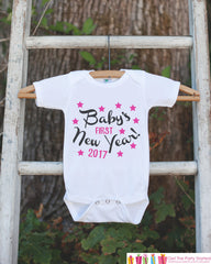 Babys First New Years Outfit - 2017 Happy New Years Eve Onepiece - Babys First Holiday - 1st New Year Bodysuit for Baby Girls - Pink & Black - 7 ate 9 Apparel