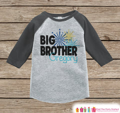 Big Brother Shirt or Onepiece - Sibling Outfits - Custom New Years Eve Outfit - Pregnancy Announcement - Sibling Reveal - Grey Baseball Tee