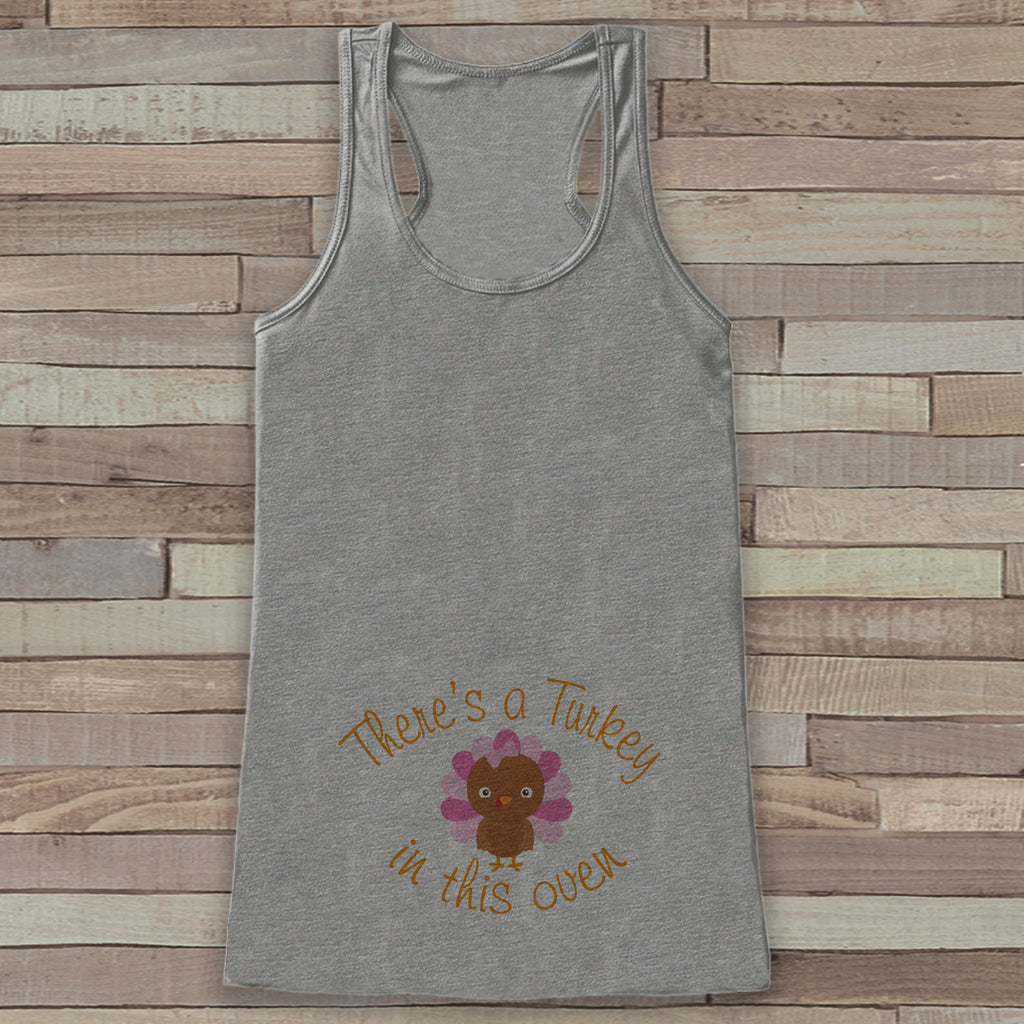 Thanksgiving Pregnancy Announcement Tank - Turkey in This Oven Pregnancy Reveal - Pregnancy Shirt - Grey Tank - Girl Thanksgiving Pregnancy