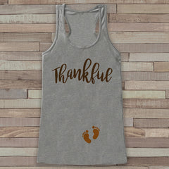 Thanksgiving Pregnancy Announcement Tank Top - Thankful For Baby Pregnancy Reveal - Pregnancy Shirt - Grey Tank - Thanksgiving Pregnancy