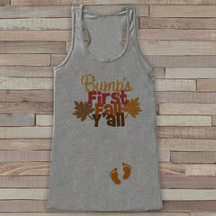Fall Pregnancy Announcement Tank - Bump's First Fall Y'all - Pregnancy Reveal - Pregnancy Shirt - Grey Tank - Autumn Pregnancy Reveal Shirt