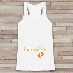 Thanksgiving Pregnancy Announcement Tank Top - I  am Stuffed! Funny Pregnancy Reveal - Pregnancy Shirt - White Tank - Thanksgiving Pregnancy