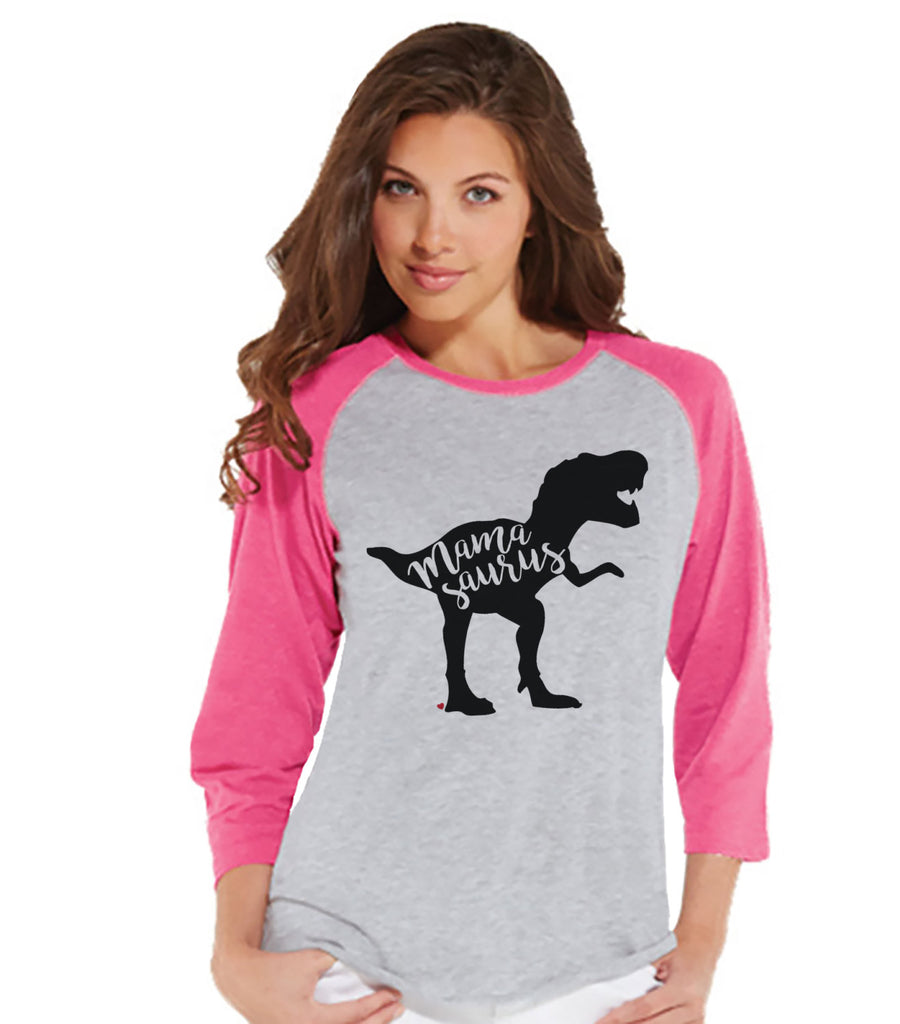 Mamasaurus Shirt - Womens Pink Raglan Shirt - Women's Baseball Tee - Dinosaur Shirt - Mother's Day Gift Idea - Family Outfits - Gift for Her