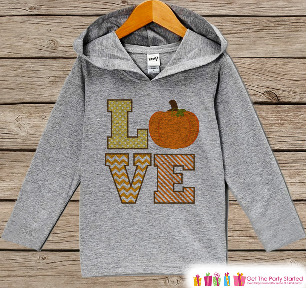 Kids Fall Shirts - LOVE Fall Hoodie - Baby Boy or Girl Fall, Autumn, Thanksgiving, Halloween Top - Grey Hoodie Kids Pullover, Pumpkin Hoodie