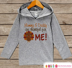 Thankful Hoodie - Kids Thanksgiving Pullover - Mommy & Daddy are Thankful For Me - Pregnancy Announcement - Baby Thanksgiving Outfit