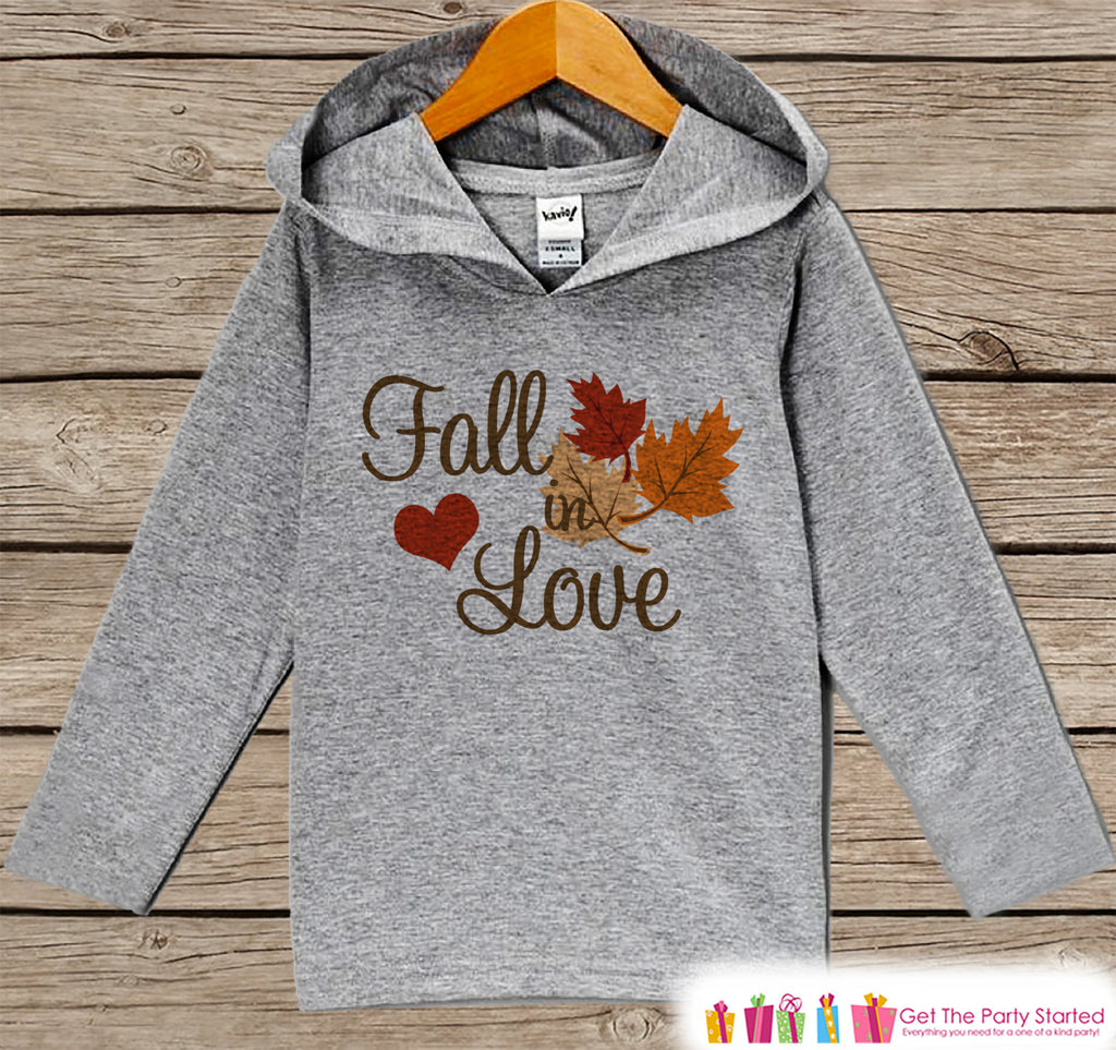 Fall In Love Hoodie - Kids Thanksgiving Pullover - Fall In Love With Baby - Pregnancy Announcement - Baby Fall Autumn Outfit