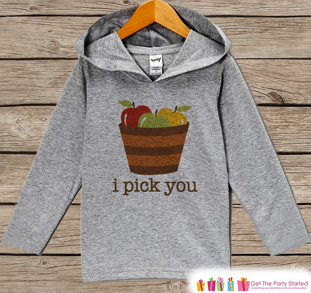 Kids Fall Shirts - I Pick You Fall Hoodie - Baby Boy or Girl Fall, Autumn Top - Grey Hoodie Kids Pullover - Toddler Apple Picking Hoodie