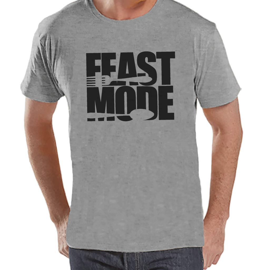 Feast Mode Shirt - Funny Food Thanksgiving Tshirt - Funny Men's Thanksgiving Dinner Shirt - Mens Grey T-shirt - Funny Food Shirt - 7 ate 9 Apparel