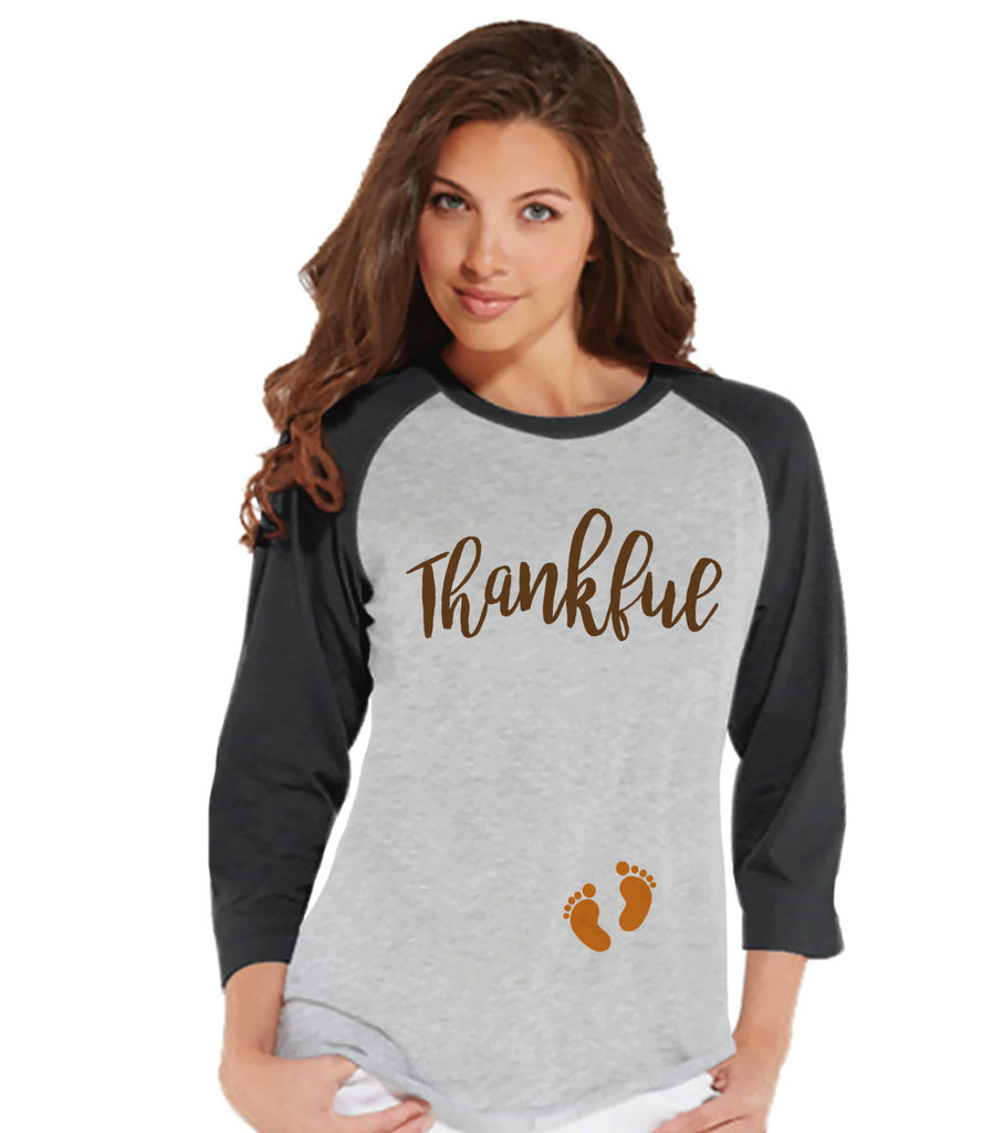 Thanksgiving Pregnancy Announcement - Thankful For Baby - Thanksgiving Pregnancy Reveal Tshirt - Grey Raglan - Pregnancy Reveal Shirt