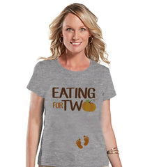 Thanksgiving Pregnancy Announcement - Eating For Two - Thanksgiving Pregnancy Reveal Tshirt - Grey Tshirt - Pregnancy Reveal Shirt - 7 ate 9 Apparel
