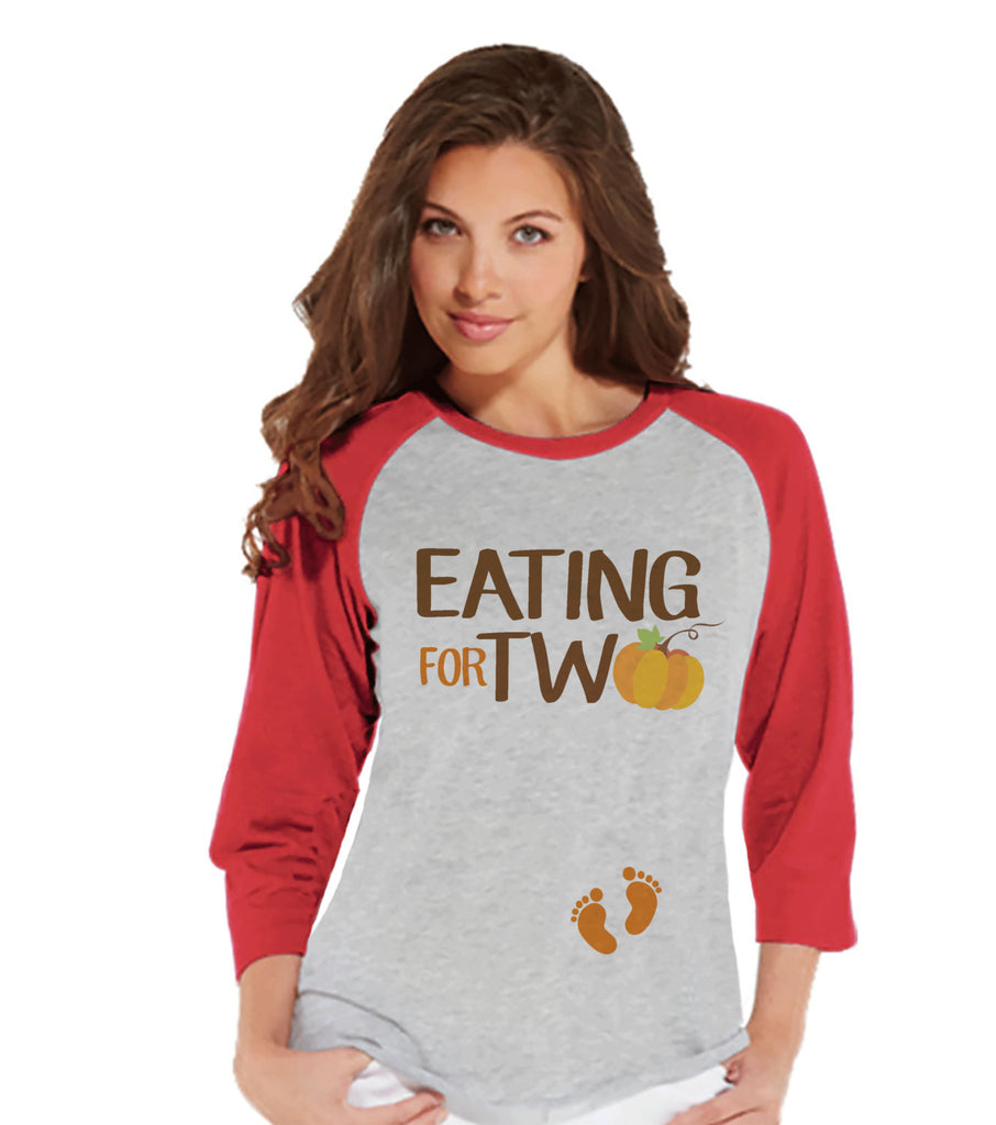 Thanksgiving Pregnancy Announcement - Eating For Two - Thanksgiving Pregnancy Reveal Tshirt - Red Raglan - Funny Pregnancy Reveal Shirt - 7 ate 9 Apparel