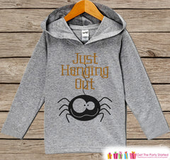 Kids Halloween Shirts - Just Hanging Out Spider Hoodie - Girl or Boys Halloween Grey Pullover - Kids Halloween Hoodie - Happy Halloween