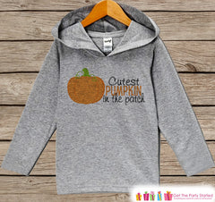 Kids Fall Shirts - Cutest Pumpkin In The Patch Hoodie - Boy or Girl Fall, Autumn Shirt - Grey Hoodie Kids Pullover - Toddler Pumpkin Patch