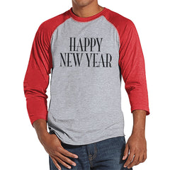 Happy New Year Shirt - New Years Eve - Shirt for Men - New Years Outfit - Mens Shirt - Mens Red Raglan Tee - Gift for Him - Holiday Top - 7 ate 9 Apparel