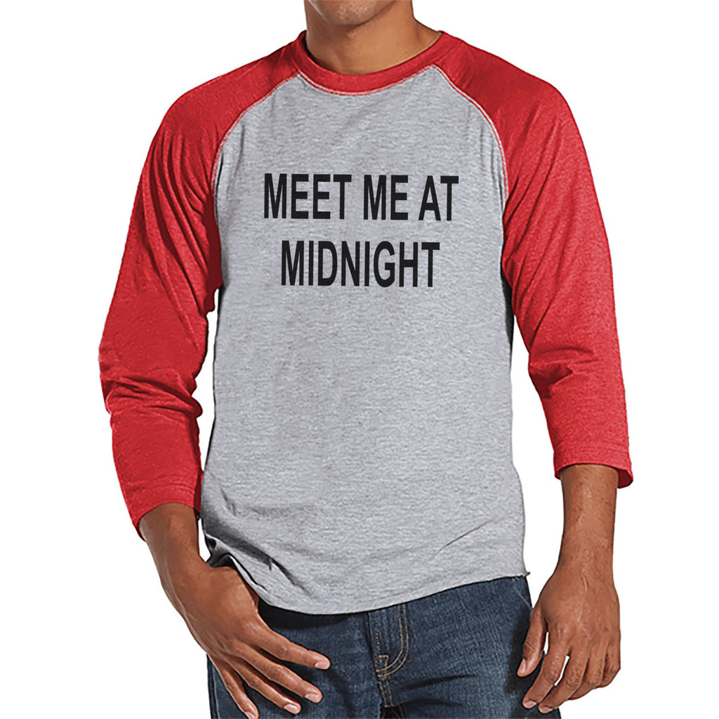 Meet At Midnight Shirt - New Years Eve - New Years Eve Outfit - Mens Shirt - Mens Red Raglan Tee - Gift for Him - Mens New Years Shirt - 7 ate 9 Apparel