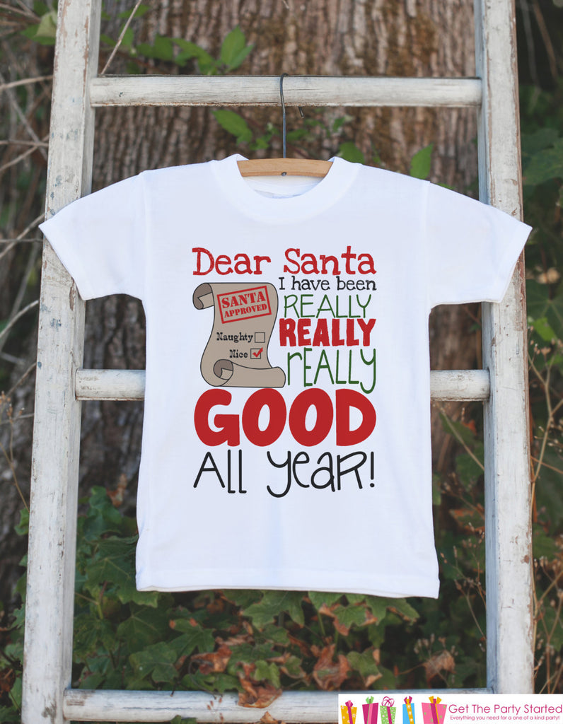 Funny Kids Christmas Outfit - Santa I've Been Good All Year Christmas Onepiece or T-shirt - Baby's First Christmas Outfit - Baby Boy or Girl