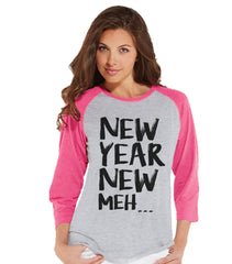Funny New Years Shirt - Happy New Years Outfit - Womens Baseball Tee - Womens Shirt - Pink Raglan - Pink Baseball Tee - Womens Baseball Tee - 7 ate 9 Apparel