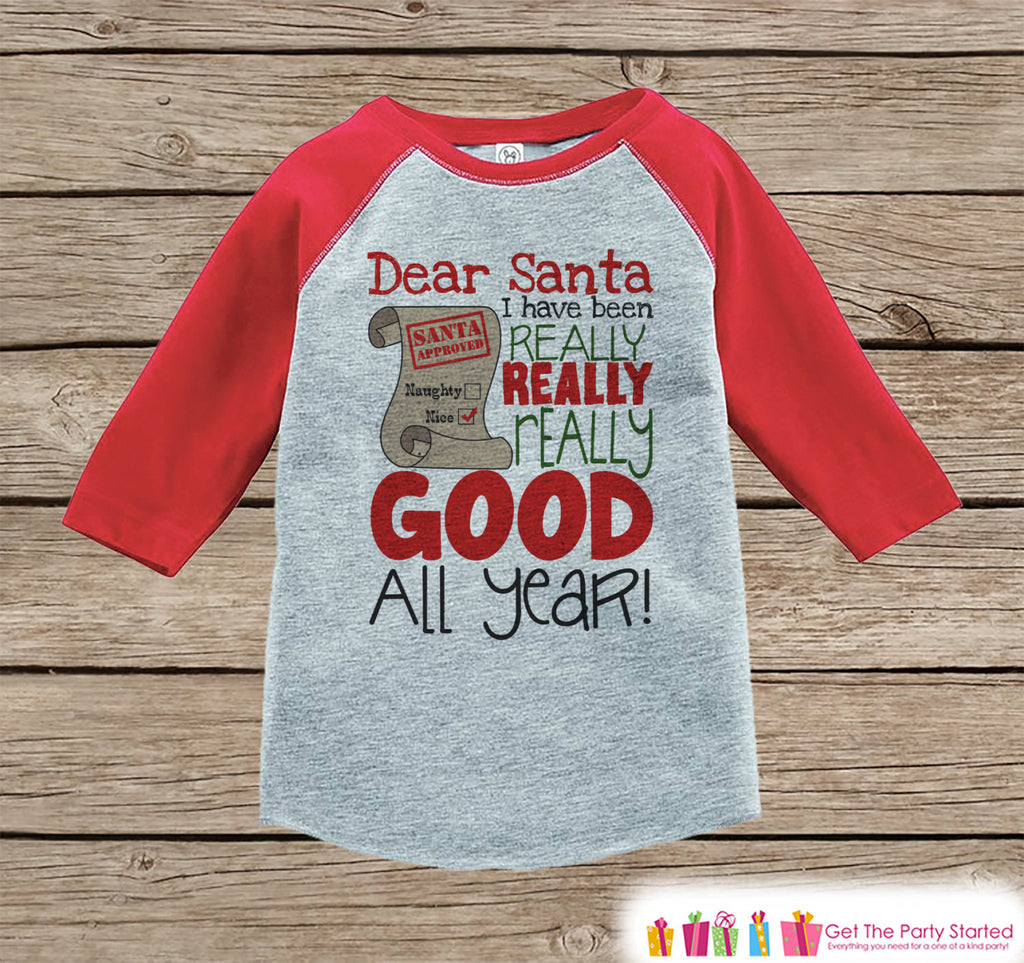 Kids Christmas Outfit - Dear Santa Shirt - Kids Christmas Shirt or Onepiece - I've Been Really Good - Boy or Girl - Baby, Toddler, Youth