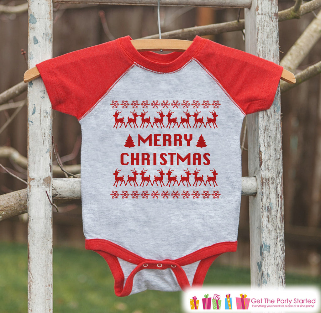Kids Ugly Christmas Sweater Outfit - Babys Merry Christmas Ugly Sweater - Funny Kids Christmas Shirt or Onepiece - Boy or Girl Holiday Party