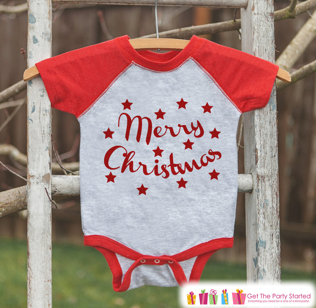 Kids Christmas Outfit - Merry Christmas Shirt or Onepiece - Kids Christmas Shirt for Baby Boy or Baby Girl - Kids, Baby, Toddler, Youth