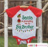 Big Brother Christmas Outfit - Pregnancy Announcement Onepiece or Shirt - Holiday Elf Shirt for Boys - Big Brother Little Brother Outfits